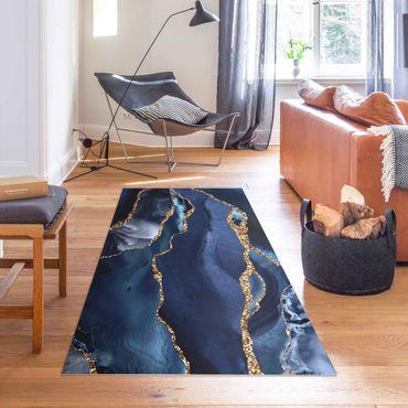 Tappeti in vinile - Onde di brillantini dorati su sfondo blu - Orizzontale 2:1