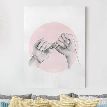 Quadri su tela - Illustrazione mani Amicizia Circle Rosa Bianco