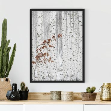 Poster con cornice - Birch Trees In Autumn - Verticale 4:3