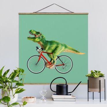Foto su tessuto da parete con bastone - Dinosauro con la bicicletta - Quadrato 1:1