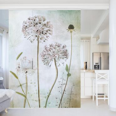 Tende scorrevoli set - Leek Flowers In pastello