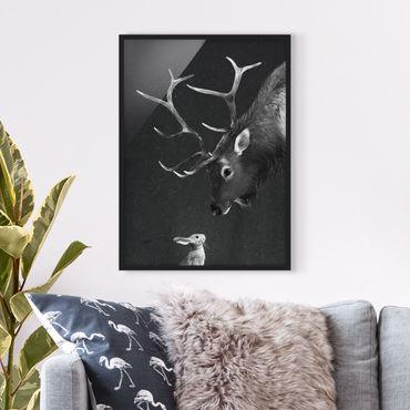Poster con cornice - Illustrazione Cervi E coniglio pittura Bianco e nero - Verticale 4:3