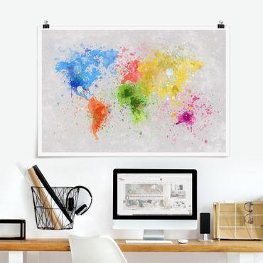 Poster - Macchie di colore Mappa del mondo - Orizzontale 2:3