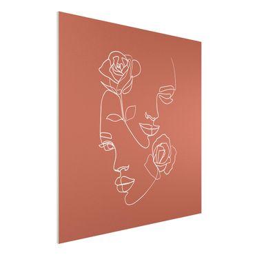 Stampa su Forex - Line Art Faces donne Roses rame - Quadrato 1:1