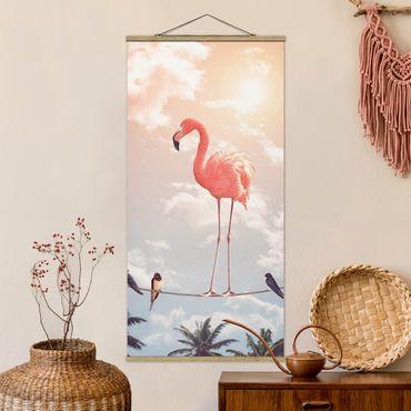 Quadro su tessuto con stecche per poster - Cielo Con Flamingo - Verticale 2:1