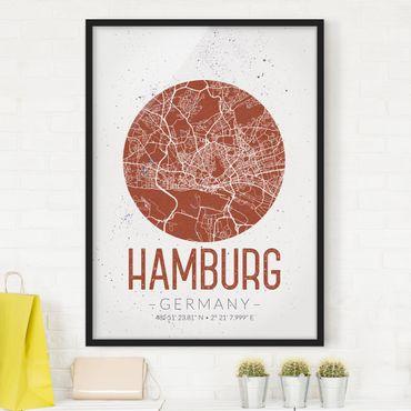 Poster con cornice - Hamburg City Map - Retro - Verticale 4:3