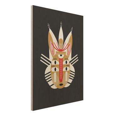 Stampa su legno - Collage Mask Ethnic - Coniglio - Verticale 4:3