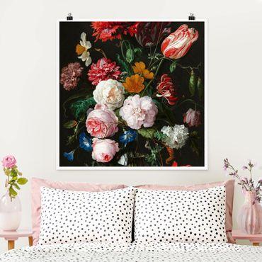 Poster - Jan Davidsz De Heem - Natura morta con fiori in un vaso di vetro - Quadrato 1:1