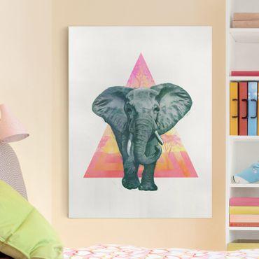 Quadri su tela - Illustrazione Elephant anteriore Triangolo Pittura
