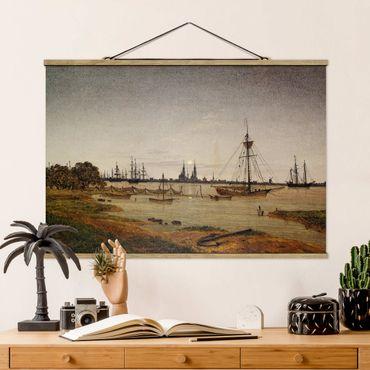 Foto su tessuto da parete con bastone - Caspar David Friedrich - Harbor al chiaro di luna - Orizzontale 2:3