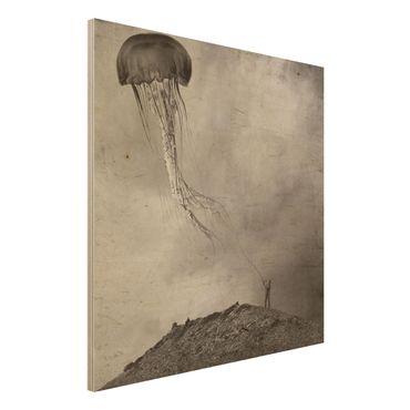 Quadro in legno - volante Medusa - Quadrato 1:1