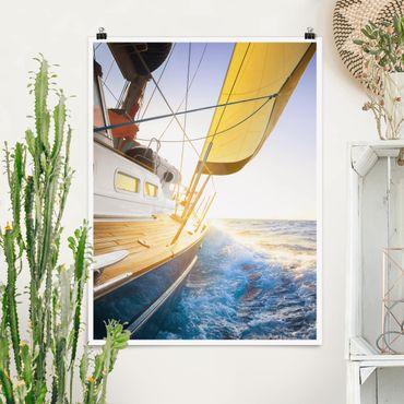 Poster - Barca a vela sul mare blu In Sole - Verticale 4:3
