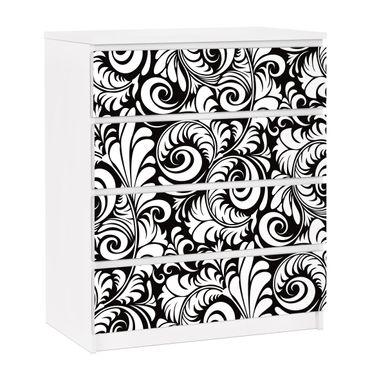 Carta adesiva per mobili IKEA - Malm Cassettiera 4xCassetti - Black and White Leaves Pattern