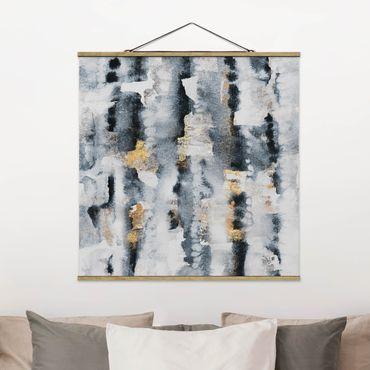 Foto su tessuto da parete con bastone - Elisabeth Fredriksson - Acquerello Astratto con oro - Quadrato 1:1