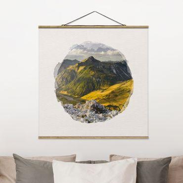 Foto su tessuto da parete con bastone - Acquerelli - Montagne e valle delle Alpi Lechtal in Tirolo - Quadrato 1:1