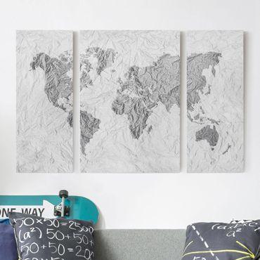 Stampa su tela 3 parti - Paper world map White Gray - Trittico