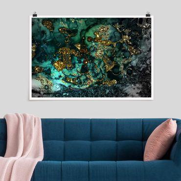 Poster - Oro Isole del Mar astratta - Orizzontale 2:3