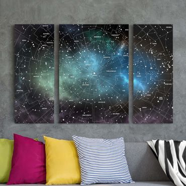 Stampa su tela 3 parti - Constellations map Galaxy fog - Trittico