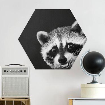 Esagono in forex - Illustrazione Raccoon Monochrome Pittura