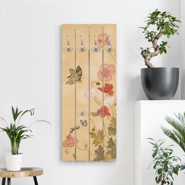 Appendiabiti in legno - Yuanyu Ma - Papaveri e farfalle - Ganci cromati - Verticale
