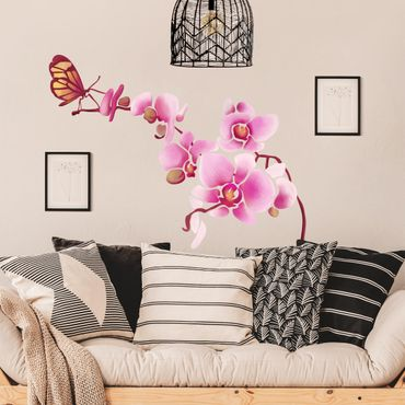 Adesivo murale - Orchid with butterfly