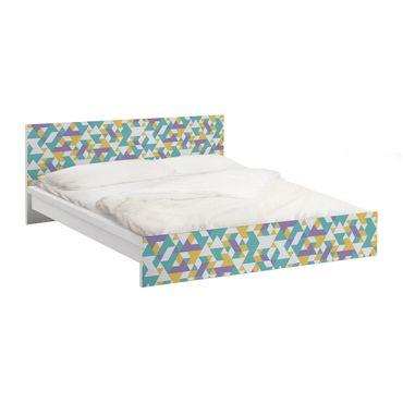 Carta adesiva per mobili IKEA - Malm Letto basso 140x200cm No.RY33 Lilac Triangles