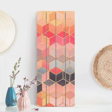 Stampa su legno - Elisabeth Fredriksson - Colorful pastello oro Geometria - Verticale 5:2