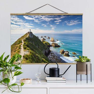 Foto su tessuto da parete con bastone - Nugget Point Lighthouse e Sea Nuova Zelanda - Orizzontale 2:3
