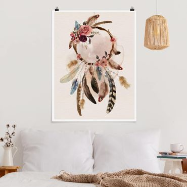 Poster - Dreamcatcher con rose e piume - Verticale 4:3