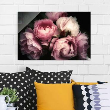 Quadro in vetro - Peony In The Dark Shabby - Orizzontale 2:3