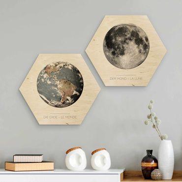 Esagono in legno - Luna e la Terra