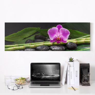 Stampa su tela - Green Bamboo Con L'orchidea Blossom - Panoramico