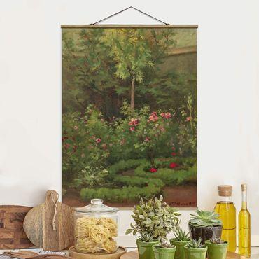 Foto su tessuto da parete con bastone - Camille Pissarro - A Rose Garden - Verticale 4:3