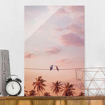 Quadro in vetro - Tramonto Con Hummingbird - Verticale 3:2