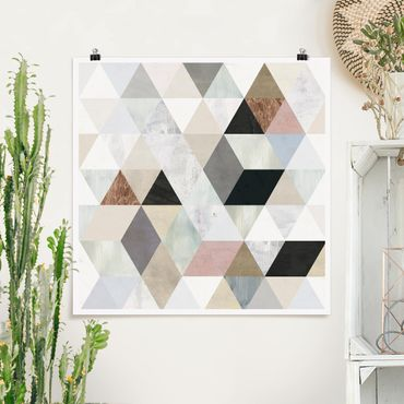 Poster - Acquerello Mosaico triangoli con I - Quadrato 1:1