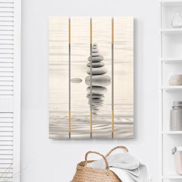 Stampa su legno - Torre Pietra In The Water Bianco e nero - Verticale 3:2