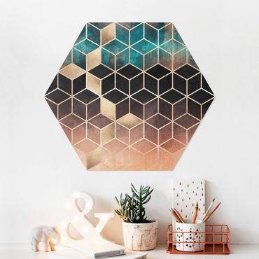 Esagono in forex - Turchese Rosa d'Oro Geometria