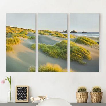 Stampa su tela 3 parti - Dunes And Grasses At The Sea - Verticale 2:1