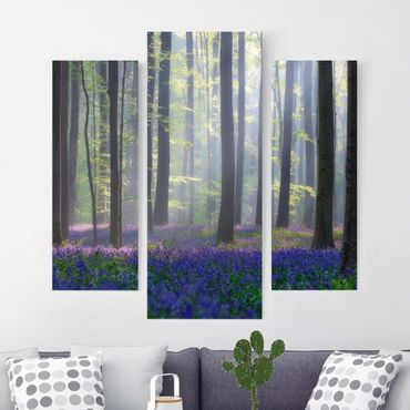 Stampa su tela 3 parti - Spring Day In The Forest - Trittico da galleria