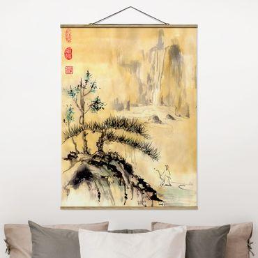 Foto su tessuto da parete con bastone - Giapponesi Acquerello cedri e Monti - Verticale 4:3