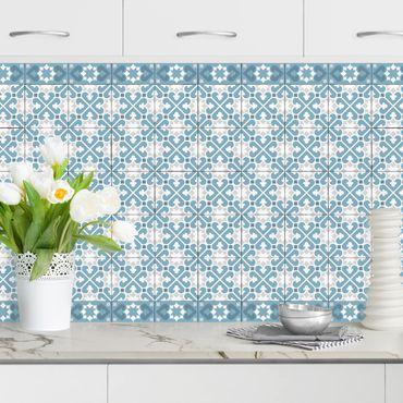 Rivestimento cucina - Piastrelle geometriche mix cuori blu grigio