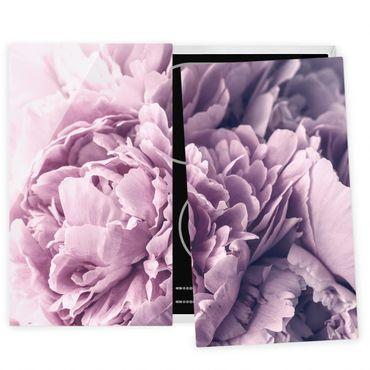 Coprifornelli in vetro - Viola Peony Blossoms - 52x80cm