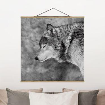 Foto su tessuto da parete con bastone - inverno Lupo - Quadrato 1:1