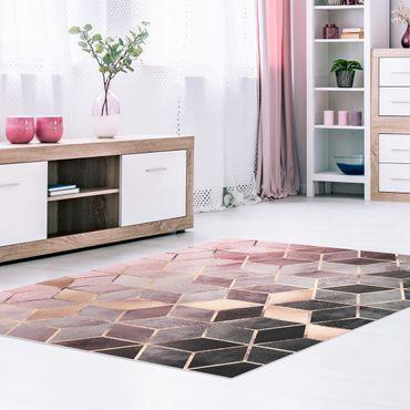 Tappeti in vinile - Elisabeth Fredriksson - Geometria dorata con rosa e grigio - Orizzontale 4:3