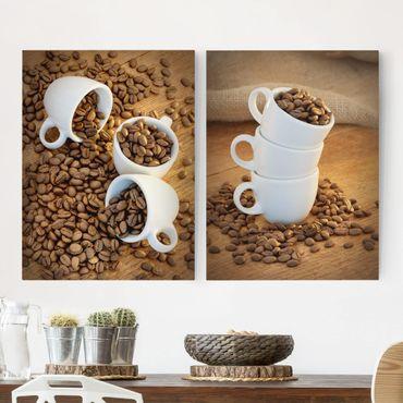 Stampa su tela 2 parti - 3 espresso cups with coffee beans - Verticale 4:3