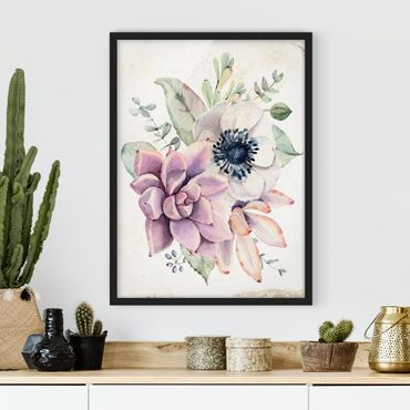 Poster con cornice - Watercolor Flower Cottage - Verticale 4:3