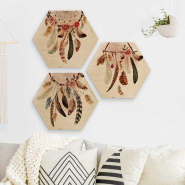 Esagono in legno - Acquerello Dreamcatcher con piume