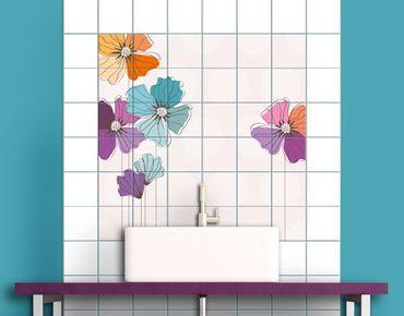Adesivo per piastrelle - Poppies In Pastel