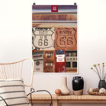 Poster - Route 66 - Collage Rusty Segni - Verticale 3:2