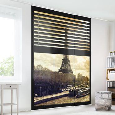 Tende scorrevoli set -  Window View Blinds - Paris Eiffel Tower Sunset